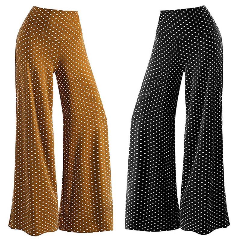 Women's Casual Point Stretchy   Wide     Leg   Palazzo Lounge   Pants   Loose Mid Waist Women's plus size Harajuku   Wide     leg     pants   #73025
