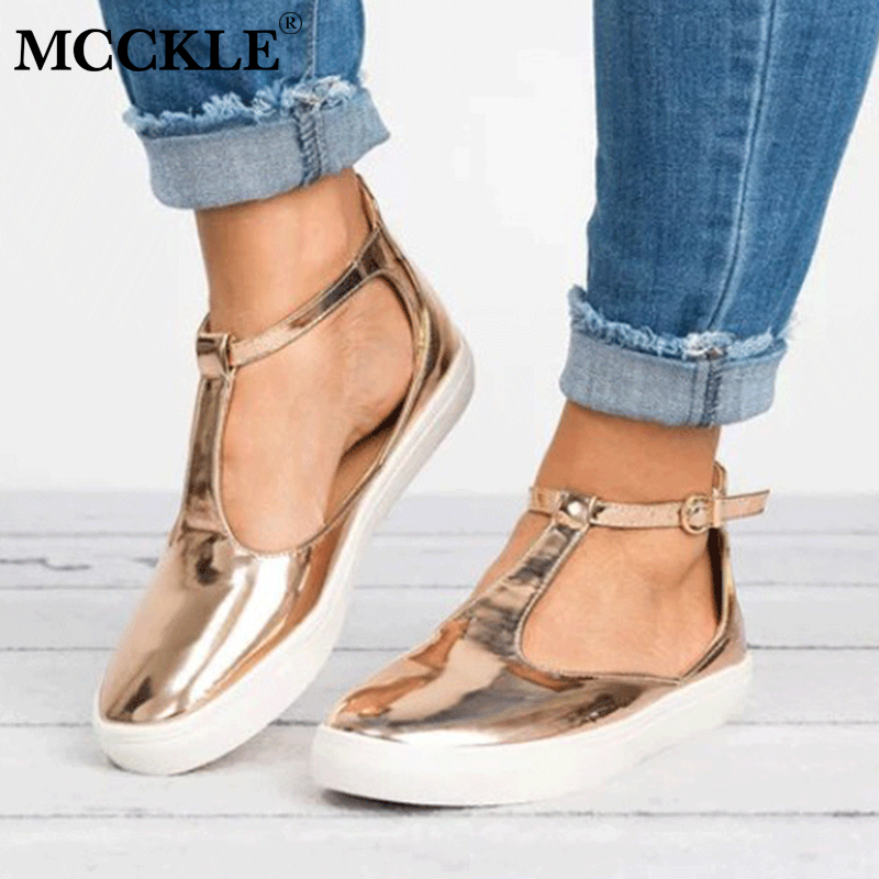 MCCKLE Plus Size Casual Flat Vulcanize Shoes Sneakers For Women Flats Female Buckle Strap Breathable Leisure Ladies Footwear rizabina concise women sneakers lady white shoes female butterfly cross strap flats shoes embroidery women footwear size 36 40