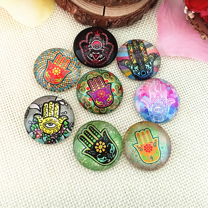 Lucky Hand Evil Eye Glass Round Cabochon 10mm 12mm 14mm 18mm 20mm 25mm 30mm Flatback Photo Dome Jewelry Findings Accessories