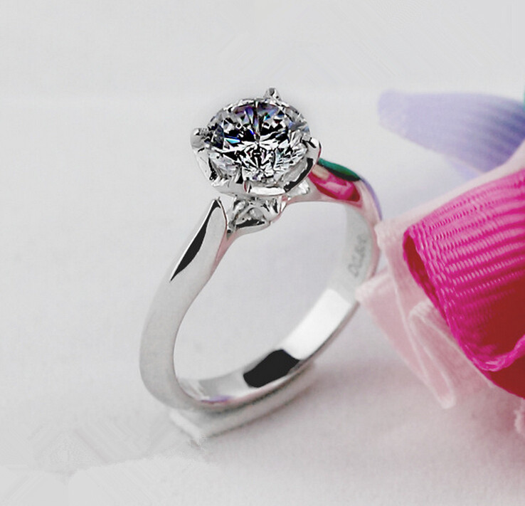 1CT pure 925 silver simulation NSCD sona diamond ring engagement wedding ring (DFE)