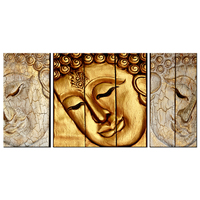 Modern Buddha Head Portrait Painting Canvas Wall Print Gold plated Statue of Buddha Face Picture Vintage Zen Still Life Artwork