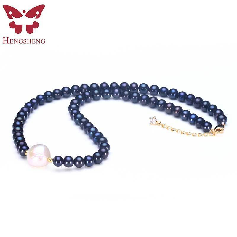 HENGSHENG Black Natural Freshwater Pearl Fashion Necklace For Women,6.5-7mm Near Round Black Pearl with 13-14mm Big Braque Pearl цены