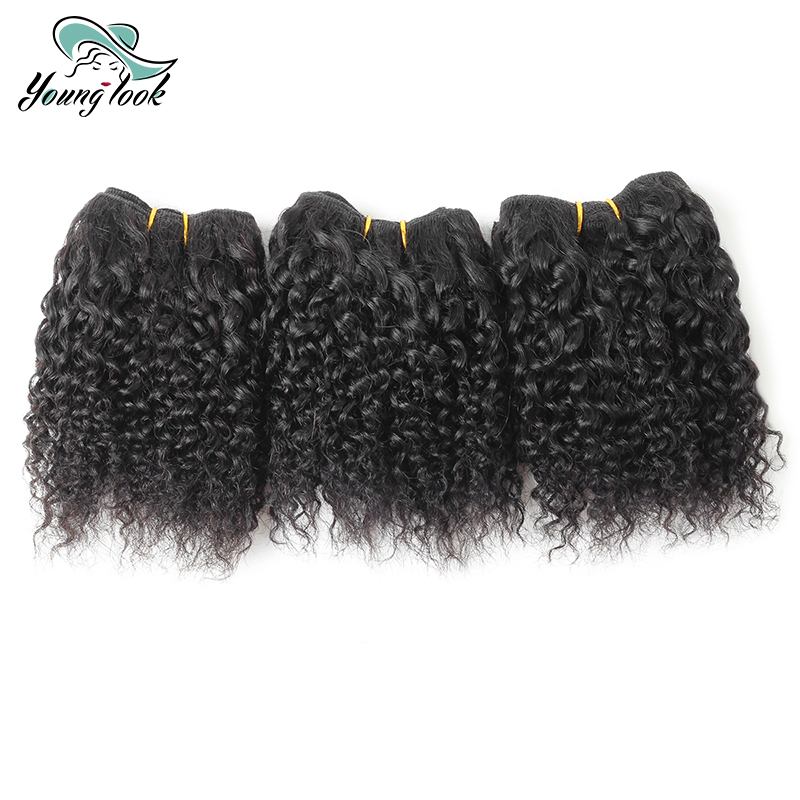 YOUNG LOOK Hair Free Shipping Curly Human Hair Bundles BBC 3 PCS/Lot 6 inch 1B# Brazilian Curly Weave Shed Free