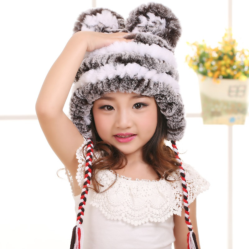 Kids Fur Hats Of Natural Rex Rabbit Fur Boy Girl Warm Kid Winter Hats Earflap Pilot White Fur Hat Knit Bunny Rabbit Ear CapH219