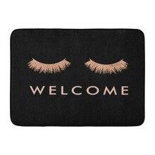 Funny Rose gold Eyelashes Welcome Doormat Home Decoration Door Mat Entrance Floor Rug Mats Rubber Non Slip Carpet
