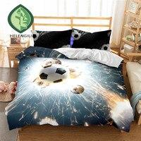 HELENGILI 3D Bedding Set Football Print Duvet Cover Set Lifelike Bedclothes With Pillowcase Bed Set Home