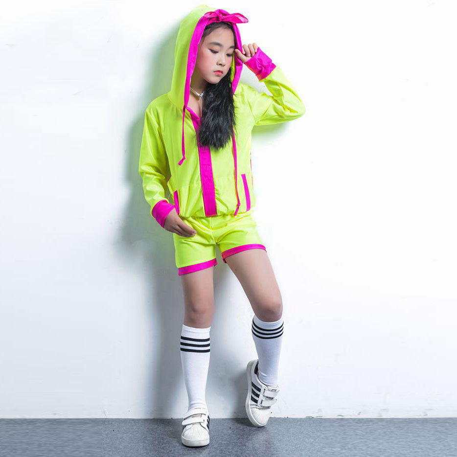 Songyuexia Children Hip Hop Clothing Girl Stage dancewear Suit Children  Show fluorescence with cap Jazz dance febf5a60c3c