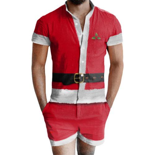 34bf939159 Xmas Ugly Christmas Men Casual Santa Short Sleeve Onesies Jumpsuits Short  Trouser Pant Sleepwear Male Nightwear Slim