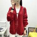 Женщины Корейский потерять короткий вязаный кардиган женщин V-с высоким воротником Слоеного Рукав свитер пальто осень кнопку сплошной цвет куртки S2791