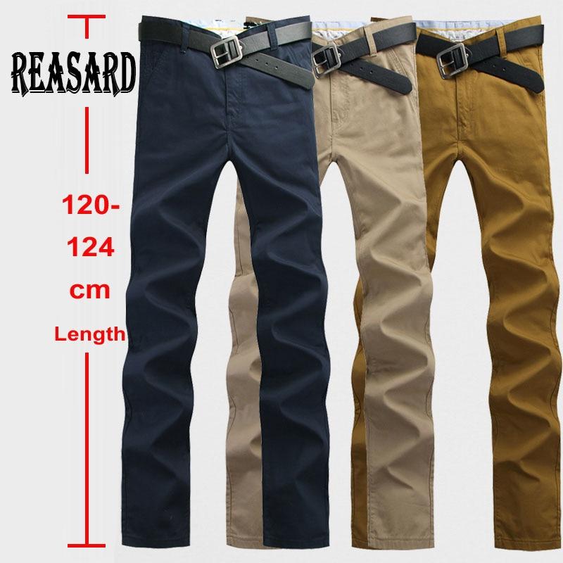 Tall Man 120cm Extra Long Mens Chinos Pants Plus Size 28~44 Mens Casual Pants Slim Straight Pants Male Twill Trousers Khaki Navy