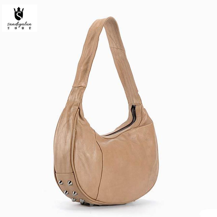 Women Genuine Leather Fringed Messenger Bag Half Moon Shape Rivets Handbag Ladies Vintage Feminine Shoulder Bags half moon run half moon run sun leads me on lp