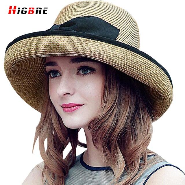 Paja Sombreros de Verano Para Las Mujeres Del Sombrero Del Sol de Las Mujeres de Moda Elegante Ocasional Sombreros de Playa 2016 Arco Decoración Veces Chapéu Feminino Viseira