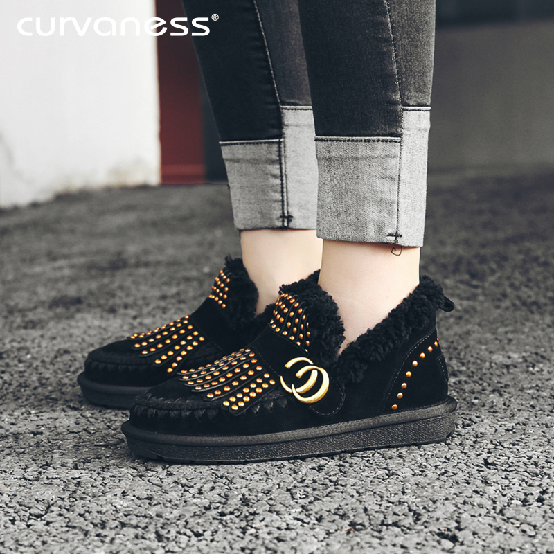 Curvaness New Bare Boots Women's Snow Boots Wool Lining Leather Hair Beautiful Rivets Metal Decorative Warm Shoes Women Models