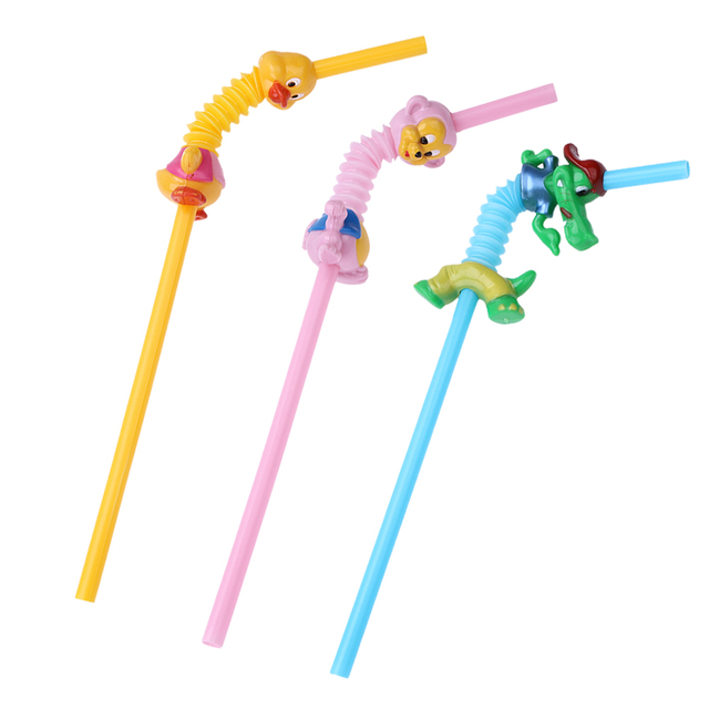 5pcs Cartoon Animal Drinking Straw Small Monkey Little Duck Crocodile Style Straw for Children Birthday Home Party Decoration