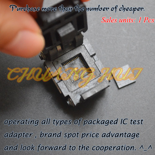 IC TEST Detect QFN44 test socket WSON44 DFN44 MLF44 IC test socket Pitch=0.65mm Size=8x8mmIC TEST Detect QFN44 test socket WSON44 DFN44 MLF44 IC test socket Pitch=0.65mm Size=8x8mm
