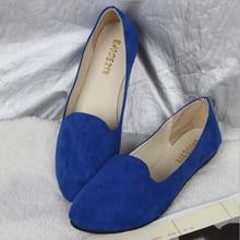 Cotton Fabric Plus Size Blue Color Soft Rubber Sole Women Flat Shoes Point Toe Plain Slip-On Women Casual Shoes A-8