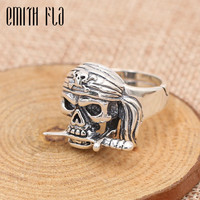 Genuine 100% 925 Sterling Silver Vintage Punk Skull Opening Ring For Men Fashion Unique Personality Skeleton Jewelry Resize Ring