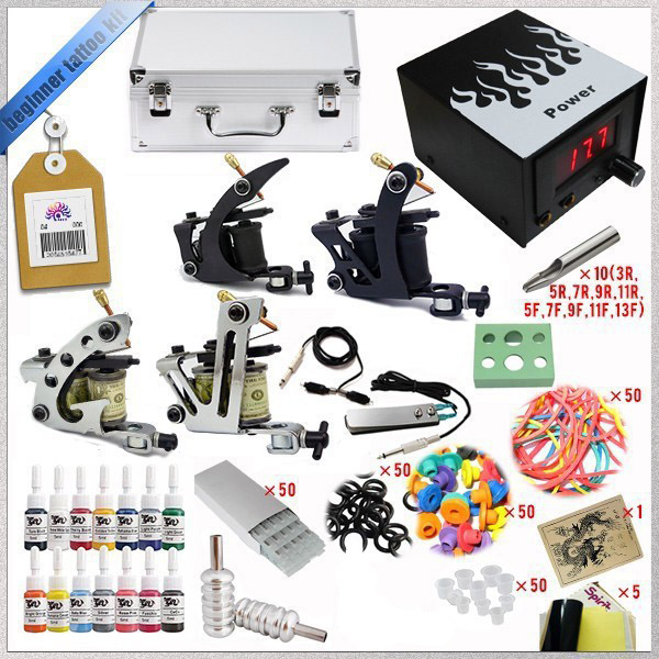 ФОТО Top 2016 Complete Tattoo Kit 4 Guns Sets Rotary Machine Power Supply +Ink +Power Supply +Needle + CD for Beginners Body Art #T
