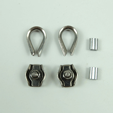 2pcs Thimbles Ring Clamp + 2pcs Single Grips Cable Clamps + 2pcs aluminum ferrule For 1mm 2mm 3mm Stainless Steel Wires rope