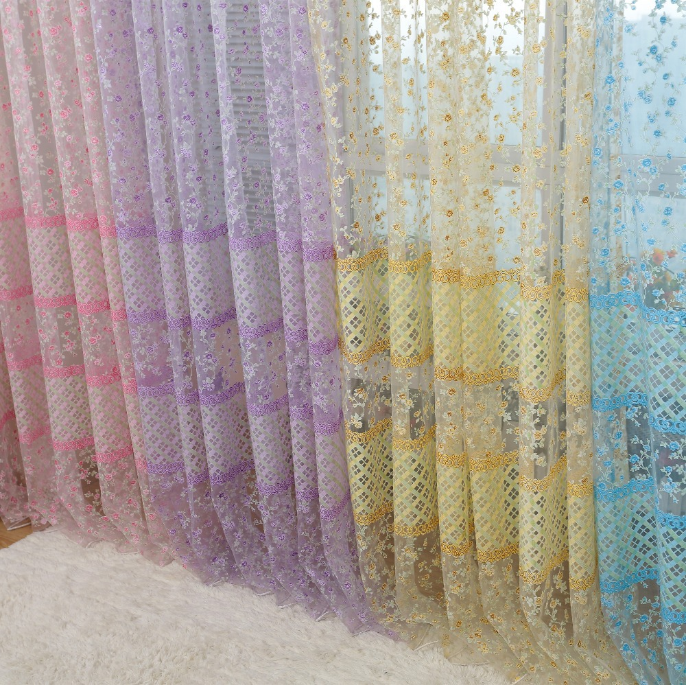 Pastoral Rustic Flower Colorfule Modern Window Curtain Sheer Fabrics Tulle  Drapes(China (Mainland)