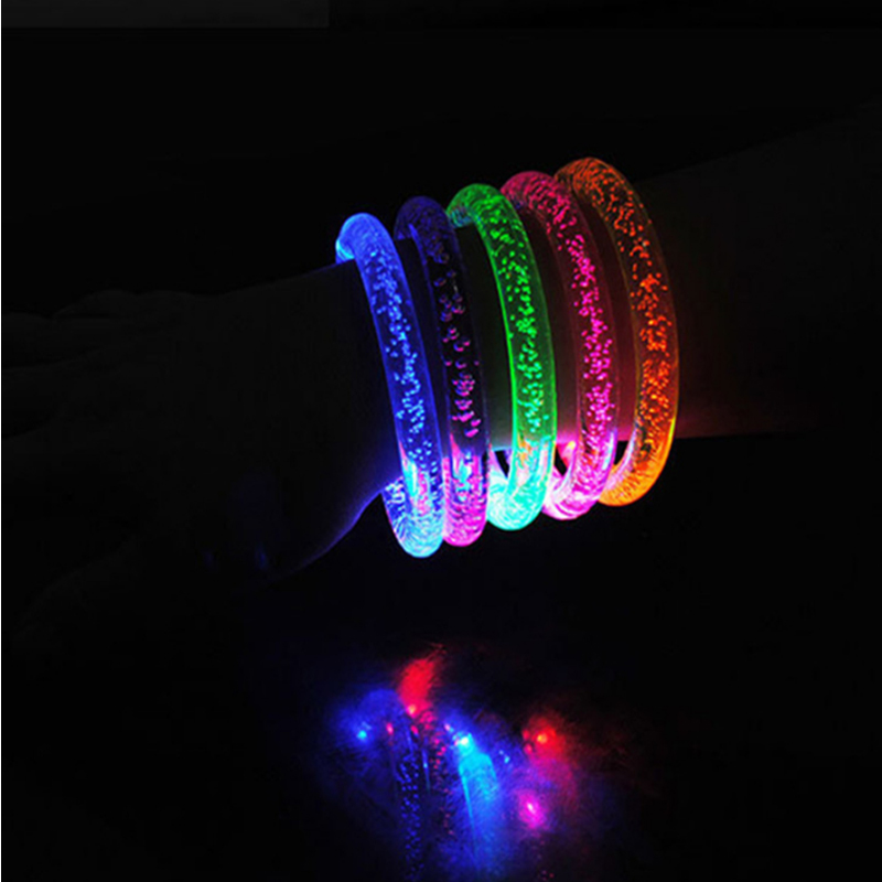 50pcs/lot Colorful LED Bracelet luminous Light up Bracelet Flashing Acrylic Glowing Bracelet Toys Party Decoration Supplies circle