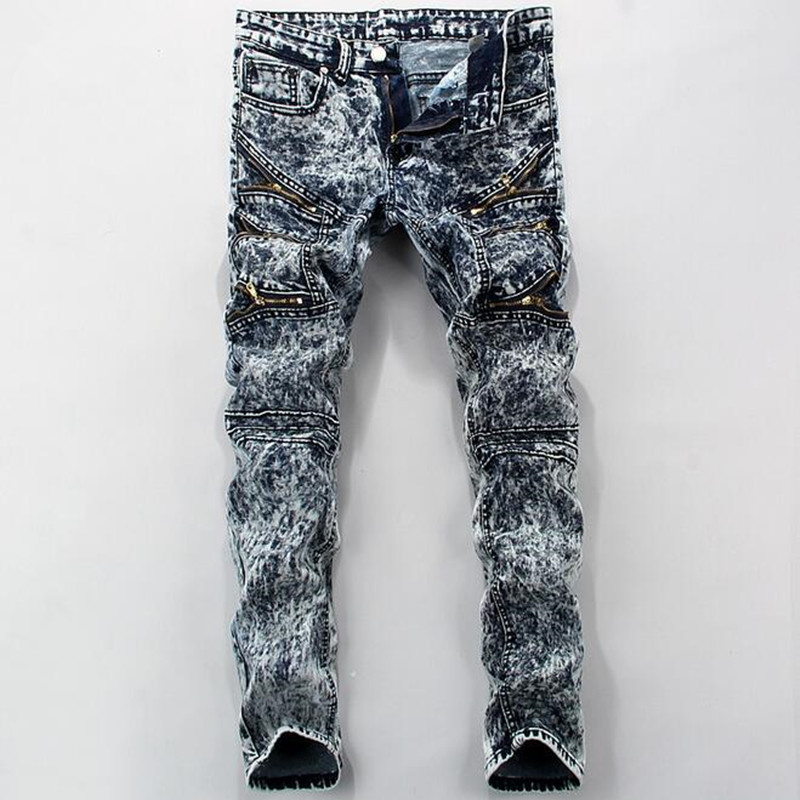 2019 Stylish men fall quality tight   jeans  / men fashion zipper decoration Snowflakes   jeans  /High-grade cotton pencil pants
