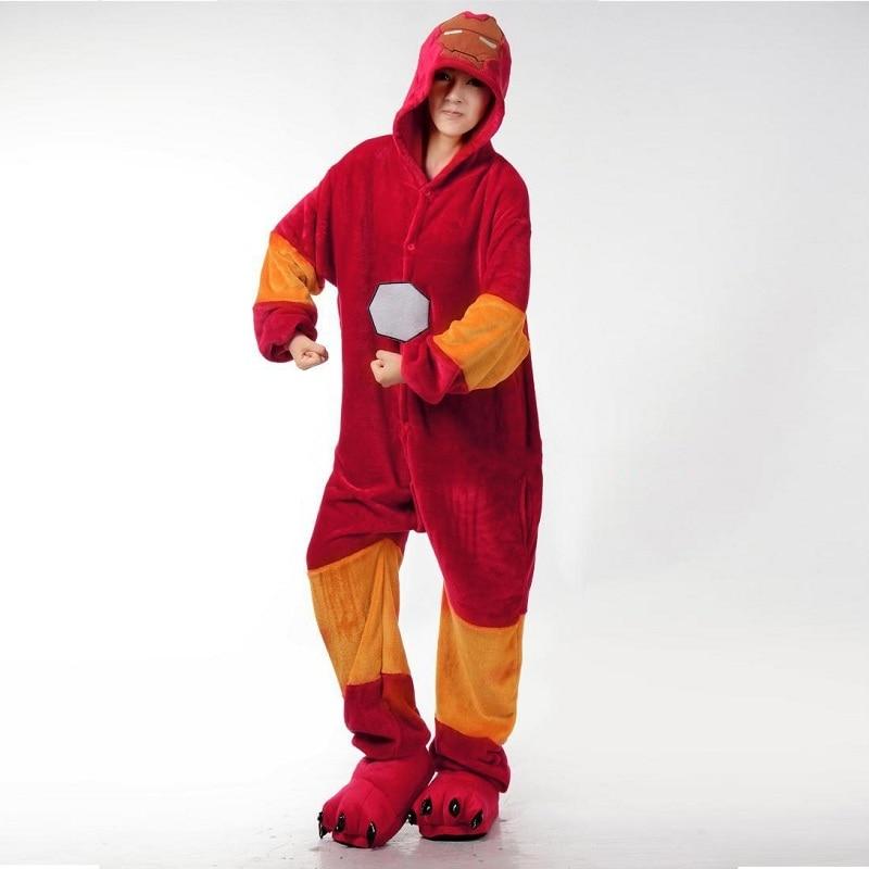 Характер Человек-паук Ironman onsie пижамные комплекты Для женщин зимние фланелевые Аним ...