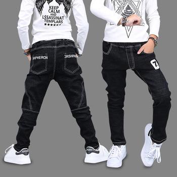Dziecięce nowe chłopięce spodnie jeansowe bawełniane solidne czarne spodnie jesienne numer 7 ołówkowe z nadrukiem spodnie koreańskie dziecięce ubrania 4T 8 12 13 lat tanie i dobre opinie GB-Kcool COTTON Poliester skinny Chłopcy Kieszenie Plastry Pełnej długości Pasuje prawda na wymiar weź swój normalny rozmiar