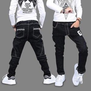Kids New Boys Pants Jeans Cotton Solid Black Trousers Autumn Number 7 Print Pencil Pants Korean Children Clothing 4T 8 12 13 Yrs