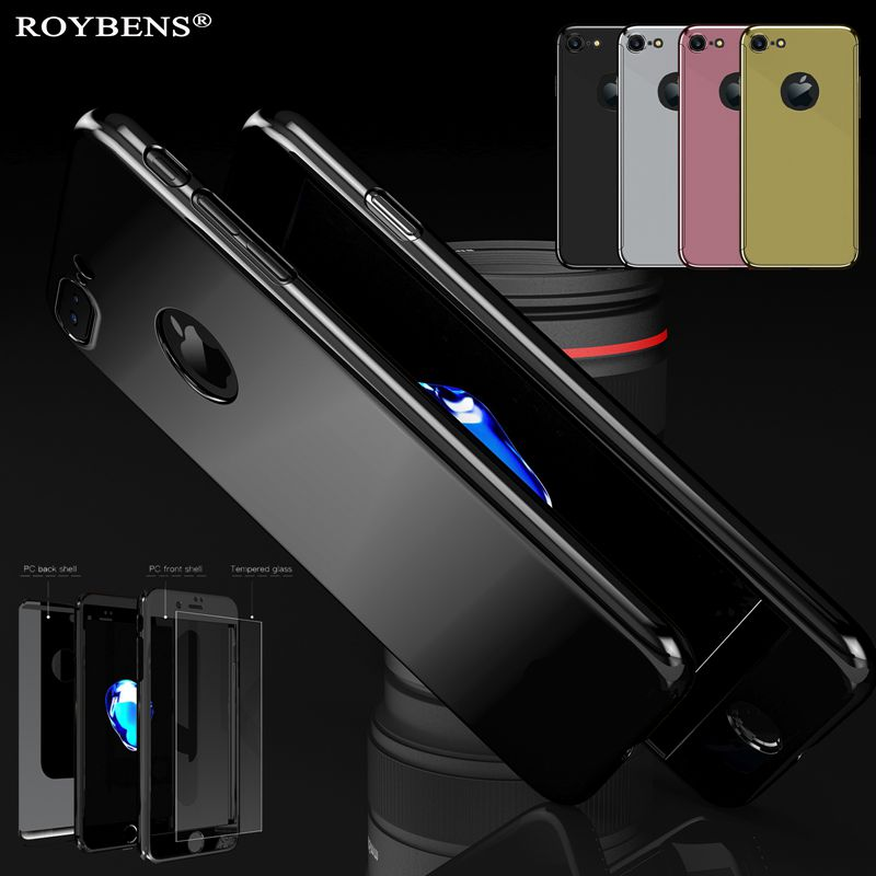 For iPhone 7 Plus Jet Black Case Bling Mirror Metal Ultra Thin Luxury Cover For iPhone 6 6S 360 Full Protection Hard PC Plating iphone 6 plus kılıf