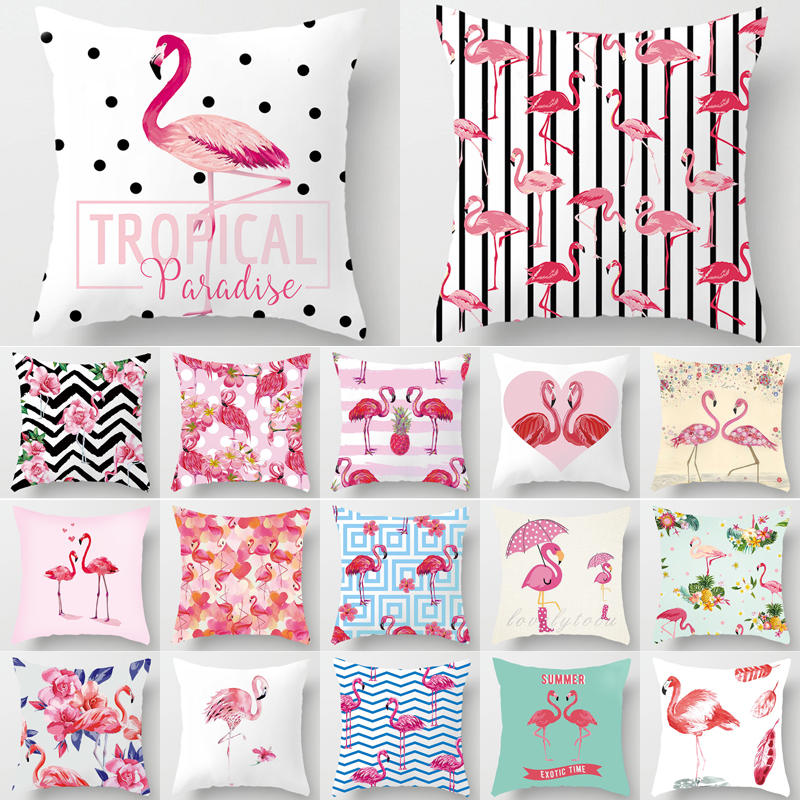 Pink Flamingo Pillow Cushion Decorative Cushion Cover Romantic Lover Flamingo Pillow Covers Decorative Home Decor 45*45 40549