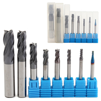 8pcs 4 Flutes Carbide End Mill Set Mayitr Tungsten Steel HRC50 Hardness CNC Milling Cutter Tool