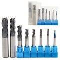 8 stücke 4 Flöten Hartmetall-schaftfräser Set Mayitr Wolfram Stahl HRC50 Härte CNC Fräsen Cutter Werkzeug 2/3 /4/5/6/8/10/2mm Dia.