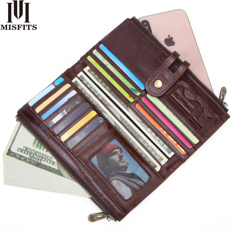MISFITS new vintage men long wallet genuine leather male purse clutch for phone high quality card holder zipper money bag