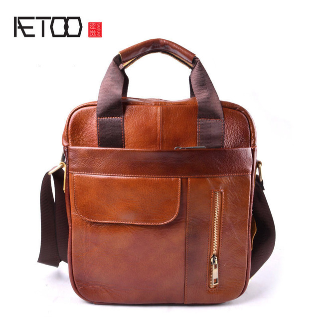 AETOO Genuine Leather Bag top-handle Men Bags Male Shoulder Crossbody Bags Messenger Small Flap Casual Handbags Men Leather Bag