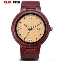 ELMERA Men's Watch Red sandalwood Watch Relogio Masculino Fashion Red Leather Strap Mens Watches Top Brand Luxury Wooden Watches