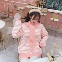 Princess sweet lolita sweater Korean small fresh sweet girl's knitted sweater thicker with fake collar and pink stripes XH048