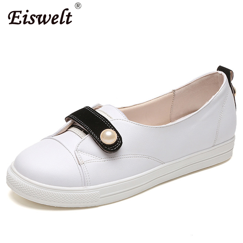 EISWELT Women casual Loafers Flat Shoes women Fashion Beaded Slip On Shoes Platform Casual Shoes Flats#ZQS138 lanshulan bling glitters slippers 2017 summer flip flops platform shoes woman creepers slip on flats casual wedges gold