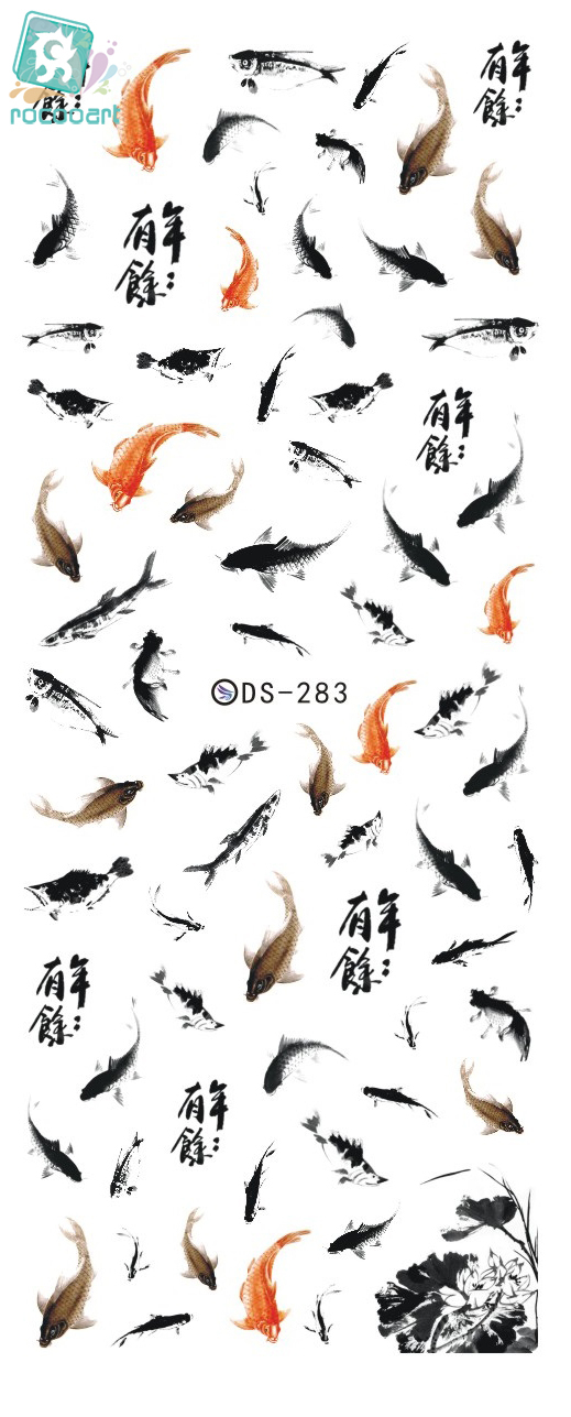 Rocooart DS283 Water Transfer Foils Nail Art Sticker Chinese Style Ink Paiting Fish Manicure Decals Minx Nail Decorations Tools rocooart dls377 382 water foils nail art sticker fashion nails cartoon harajuku sailor moon decals minx nail decorations