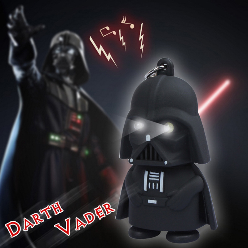 One piece Cartoon Star War Darth Vader action figure keychain LED light up with sound robots