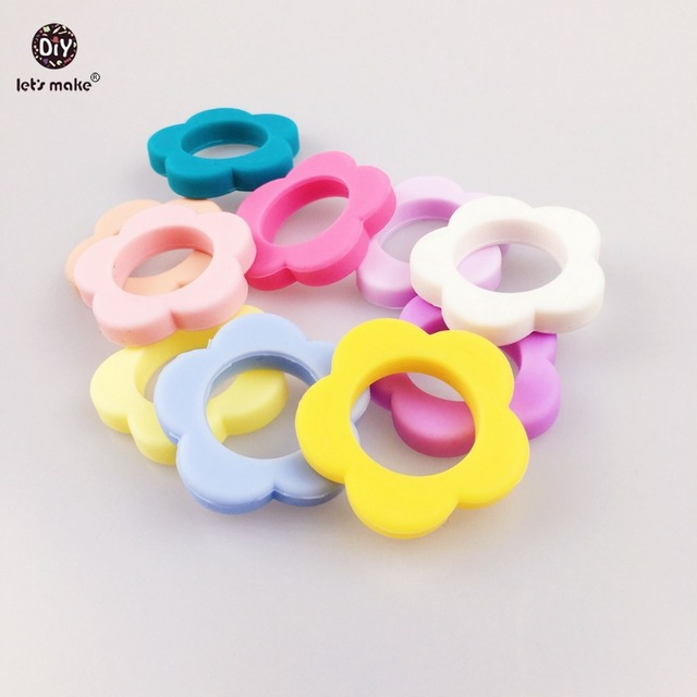 Let's Make Silicone Flowers Baby Teething Toy (10pcs)Safe Chewable eEo Sensory Infant Teether Beads Nursing Necklace Jewelry