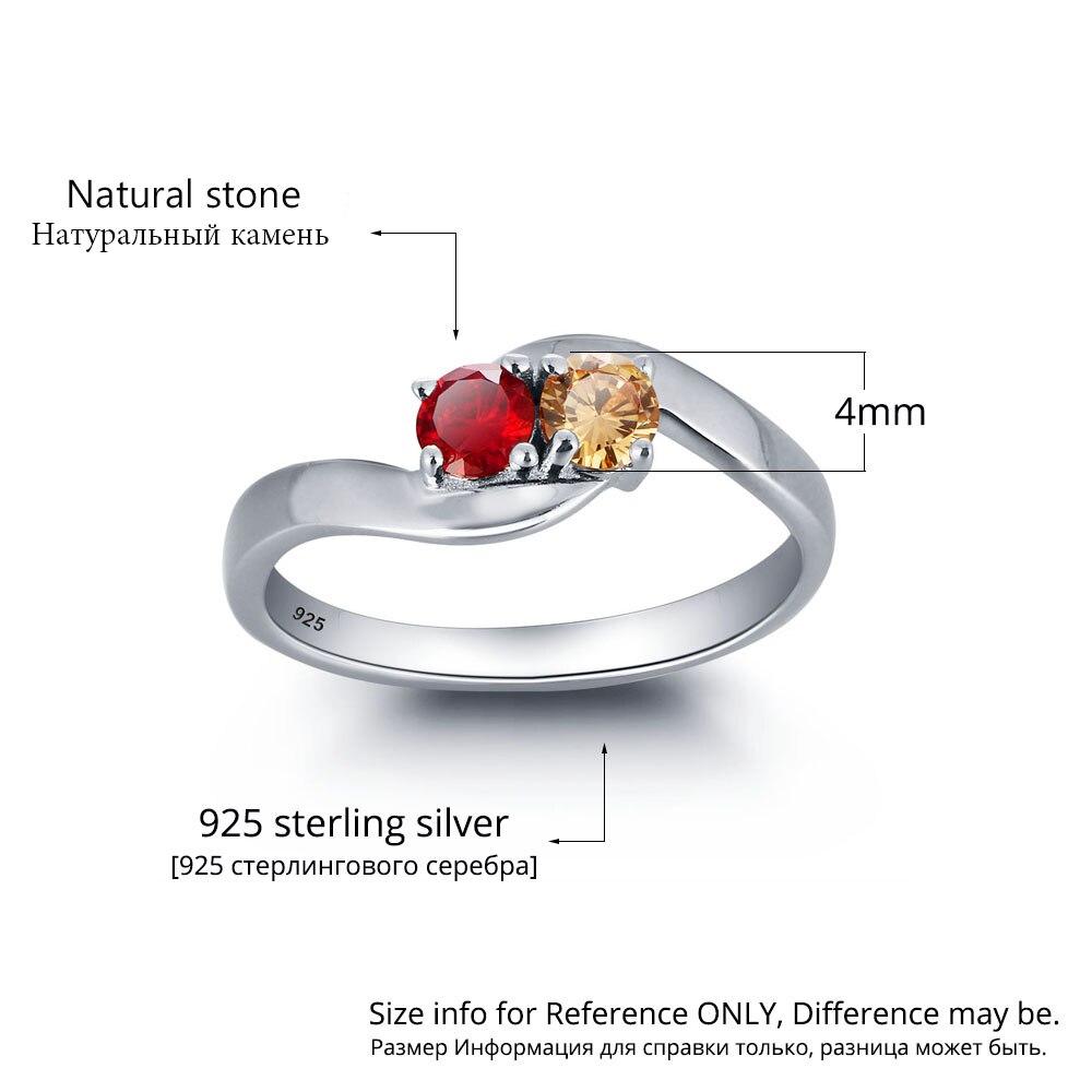 Personalisierte Ringe 925 Sterling Silber Birthstone Ringe weibliche - Edlen Schmuck - Foto 3
