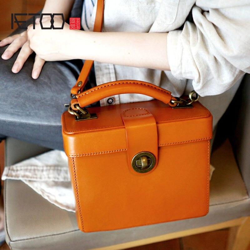 AETOO Handmade genuine leather female vintage hard shell vegetable tanned handbag