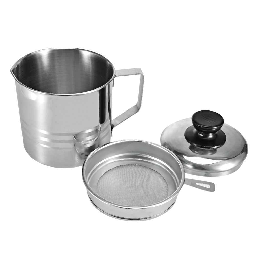 Functional Kitchen Filter Cup Stainless Steel Oil Strainer Orange/Lemon Fruit Filters with Handle Lid Soy Milk Storage Container