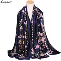 Hot Elegant Lady Satin Floral Printed Soft Long Wrap Scarf Fashion Women Shawl Formal Party Scarves Pashmina Bufandas Sep27