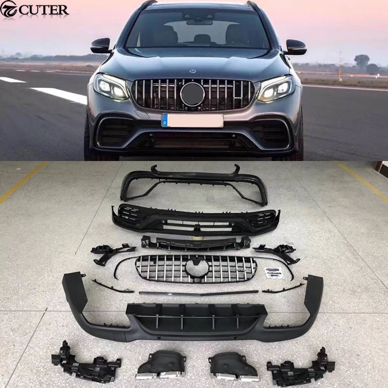 GLC300 GLC63 AMG style Car body kit PP Dipinto anteriore paraurti Posteriore per Mercedes Benz GLC63 AMG body kit
