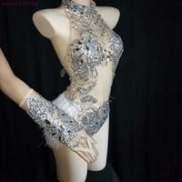 Горный хрусталь боди Блестящий серебряный кристаллами сетка боди перо купальник наряд Для женщин бар сценического танца танцевальный кост