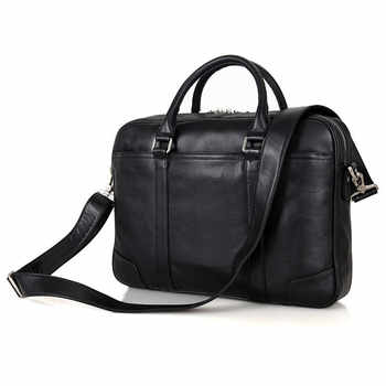 Nesitu Black Brown Chocolate Genuine Leather Men Briefcase 14\'\' Laptop Portfolio Men Messenger Bags Business Travel Bag #M7349 - DISCOUNT ITEM  50 OFF Luggage & Bags
