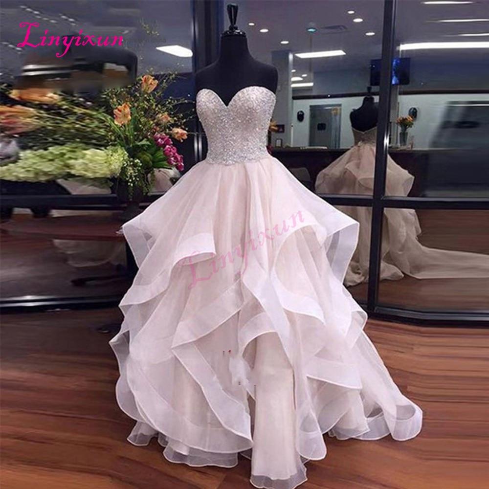 Vestido de Formatura Rosa Di Lusso In Rilievo Da Promenade Lungo 2018 Increspature Organza Dell'abito di Sfera Del Partito di Sera Abiti Quinceanera Dolce