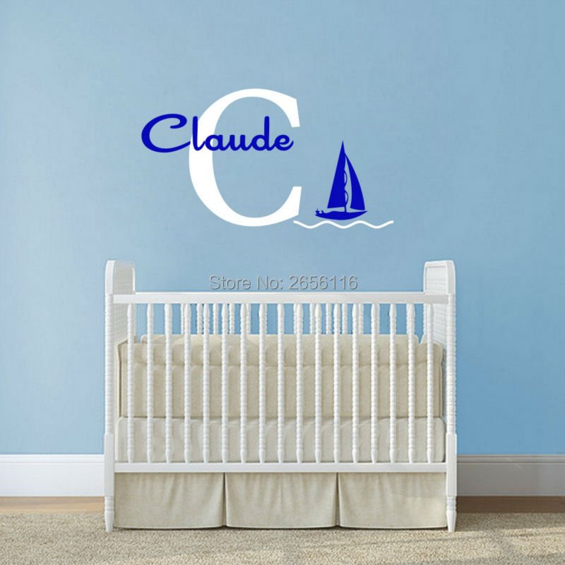 Personalized Baby Names Wall Sticker Capital Letter Wall Decal Sailboat Waves Art Vinyl Custom Wallpaper Boys Girls Room Decor